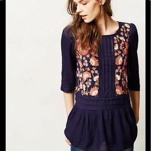 Floreat floral navy peplum button back blouse 10